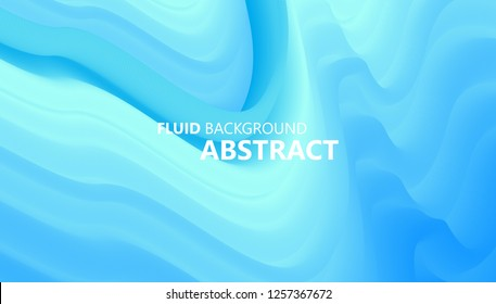 Abstract liquid color background. Fluid blue gradient wave. Wavy geometric pattern. Futuristic design. Vector