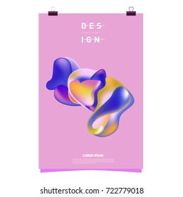 Abstract Liquid color covers set. Fluid shapes composition. Futuristic design posters. Vector layout design template.