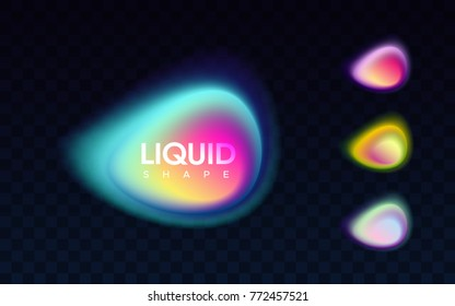Abstract liquid colorful banner. Vector illustration. Set of blended gradient shapes isolated on black transparent background. Modern minimal design. Bright smooth bubbles. Advertising labels template