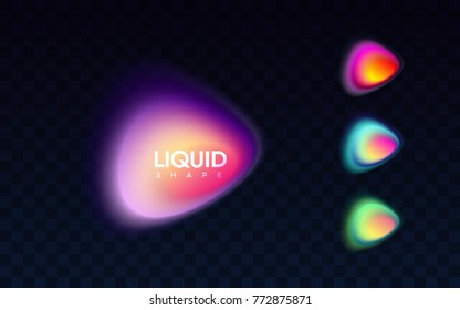 Abstract liquid colorful banner. Vector illustration. Blended gradient shapes isolated on black transparent background. Modern minimal logo design. Bright smooth bubbles. Advertising labels template