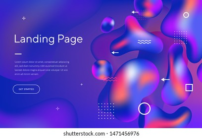 Abstract liquid modern graphic element. Dynamical colored forms and waves. Gradient abstract banner with flowing shapes. Template for the design of a website landing page, poster, or presentation