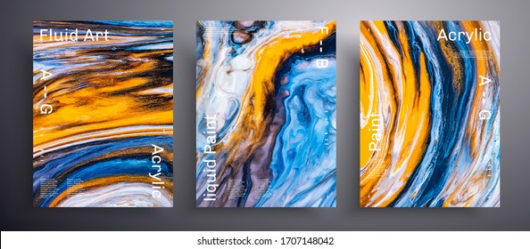 Abstract liquid poster, fluid art vector texture pack. Artistic background that can be used for design cover, invitation, flyer and etc. Blue, orange and white unusual creative surface template