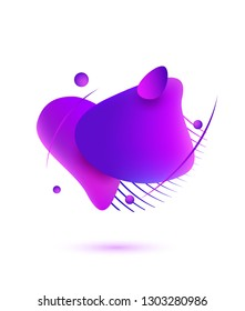 Abstract liquid shape. Fluid background. Isolated gradient waves with lines and balls. Liquid design. Vector illustration