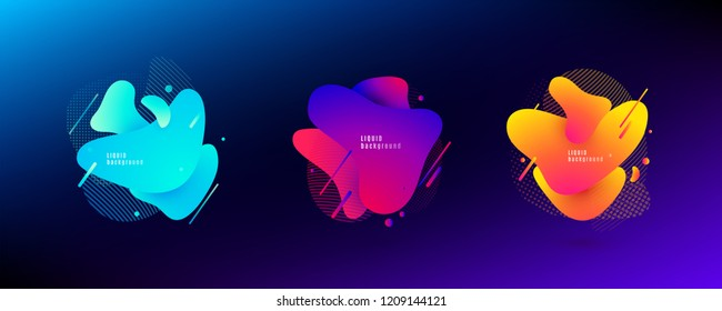 Abstract liquid shape. Fluid design. Light and bright gradient color waves with geometric lines, dots isolated on dark background. Vector illustration.