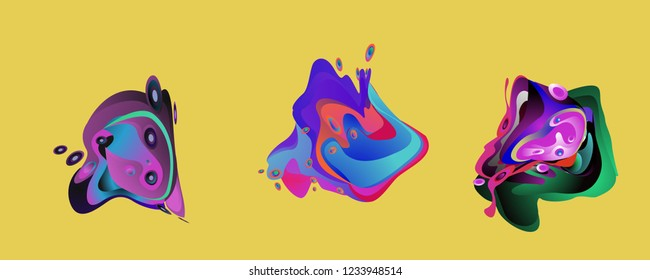 Abstract liquid shape. Fluid design. Isolated gradient waves with geometric lines, dots. Vector illustration.