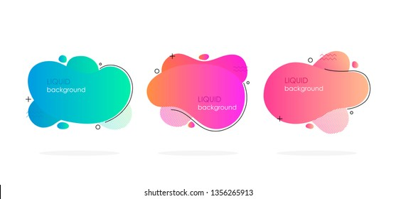 Abstract liquid shape. Fluid design. Isolated gradient waves. Modern vector illustration.