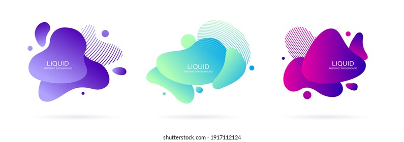 Abstract liquid shape. Set of modern graphic elements. Fluid dynamical colored forms banner. Gradient abstract liquid shapes. Vector illustration.