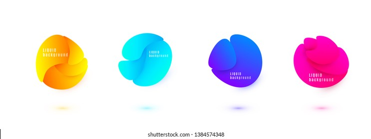 Abstract liquid shape vector design. Fluid gradient background. Isolated graphic wave elements with geometric circle splash textures.