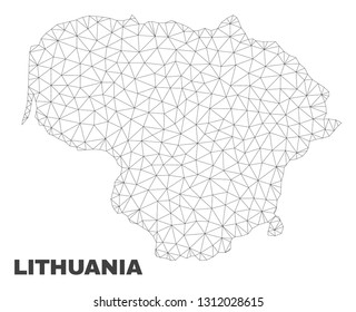 Abstract Lithuania map isolated on a white background. Triangular mesh model in black color of Lithuania map. Polygonal geographic scheme designed for political illustrations.