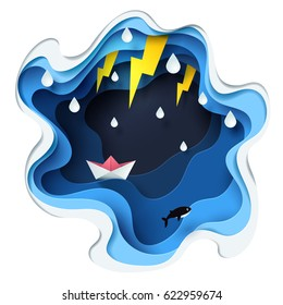 Abstract of little paper boat against crazy sea and thunderbolt in storm, paper art storm concept, vector art and illustration.
