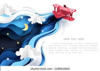 Abstrakt von kleinen Papierflieger fliegen durch Wolke in der Nacht, Papier-Kunst-Konzept und Tourismus Idee, Vektorkunst und Illustration.