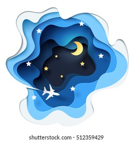 Abstract of little paper plane flying through cloud to sky at night, paper art concept and tourism idea, vector art and illustration.