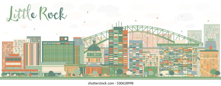 Abstract Little Rock Skyline with Color Buildings. Vector Illustration. Business Travel and Tourism Concept with Modern Architecture. Image for Presentation Banner Placard and Web Site.