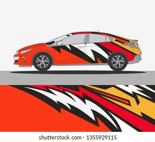 Abstract livery for vehicle vinyl branding background. Rally car wrap vector designs.