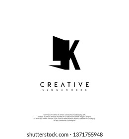 abstract LK logo letter in shadow shape design concept