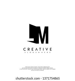 abstract LM logo letter in shadow shape design concept