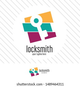 abstract locksmith logo design concept. symbol and icon key