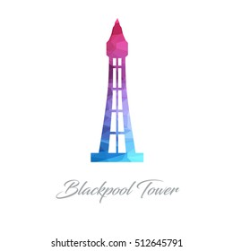 Abstract logo of the Blackpool Tower Landmark made of triangles. Monument Polygonal image for postcards, prints or other design. World famous tourism blue and pink architecture logo