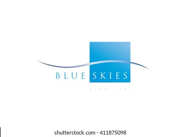 Abstract logo, blue element icon with swoosh, nature, organic