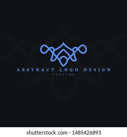 Abstract Logo Blue with minimal style and thin line