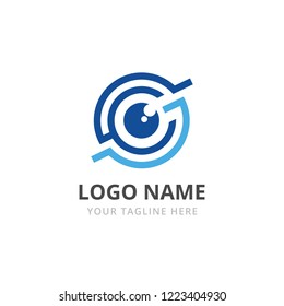 Abstract logo for business company. Corporate identity design element. Retina circle scanner, personality eye identification, iris id lock logotype idea. Security, protect concept. Eye Vector icon.