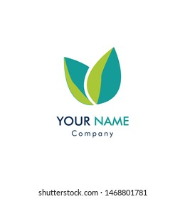 Abstract logo for business company. Corporate identity design element. Eco nature, spa, Logotype idea. Water drop and leaf, environment, natural liquid, save concept. Colorful Vector flat icon