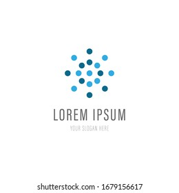 Abstract logo for business company. Corporate identity design element. Digital technology, sphere, dot logotype idea. Growth, development, healthcare concept. Colorful Vector icon