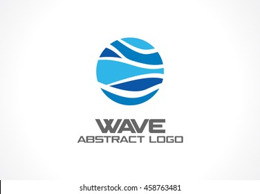 Abstract logo for business company. Corporate identity design element. Nature, ocean, eco, science, healthcare Logotype idea. Ecology, blue, sea, water wave in circle concept. Colorful Vector icon
