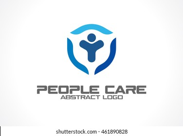 Abstract logo for business company. Corporate identity design element. Health care, Insurance or security logotype idea. People safe, protect, shield, guard protection concept. Colorful Vector icon