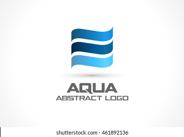 swimming pool logo design. Abstract Logo For Business Company. Corporate Identity Design Element. Eco Ocean, Nature, Swimming Pool L