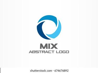 Abstract logo for business company. Corporate identity design element. Globe, teamwork, healthcare, aqua swirl Logotype idea. Water blue, circle three segment mix concept. Colorful Vector icon