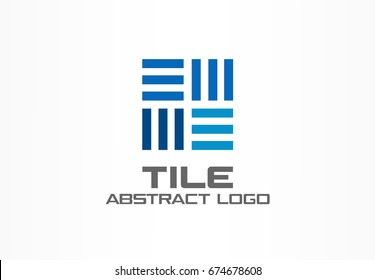 Abstract logo for business company. Corporate identity design element. Construction, industrial Integrated, logistic logotype idea. Square interior tile, rotation connect concept. Colorful Vector icon