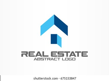 Abstract logo for business company. Corporate identity design element. Real estate service, construction, roof and open door logotype idea. Growth house, arrow up home concept. Color Vector icon