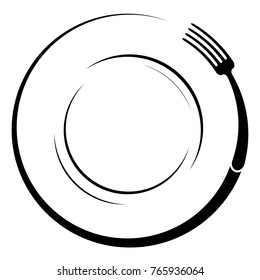 Abstract logo of a cafe or restaurant. A fork on a plate. A simple outline