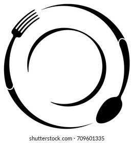 Abstract logo of a cafe or restaurant. A spoon and fork on a plate. A simple outline