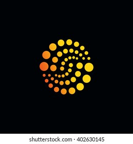 Abstract logo circles colored dots. Oddly shaped universal illustration for corporate identity creative spaces, artists exhibitions. Simple geometric composition shapes. Vector perforated art object.
