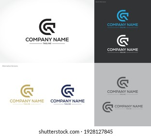 abstract logo combination between letters C and R. shapes can also be used as icons or symbols that can stand alone.
