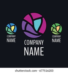 Abstract logo for the company in the field of creativity, art, beauty, glass production, stained glass production, fashion. A circle consisting of a composition of individual fragments.