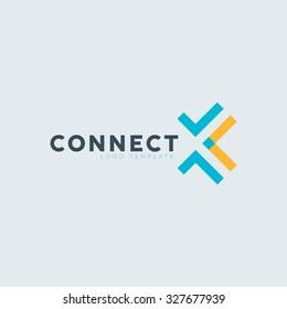Abstract logo. Connect logo. Technology logo. Connection logo. Vector illustration. Connect logo template