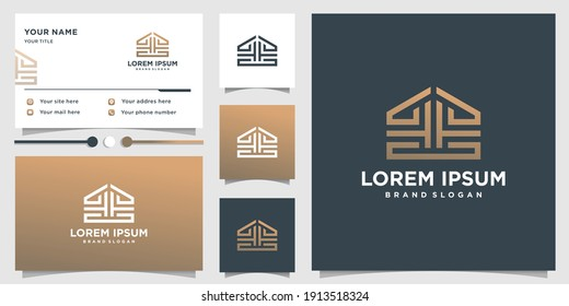 Abstract logo with cool building shape style and business card design Premium vector