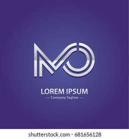 Abstract Logo Design Combinations Initial Letter of M and O