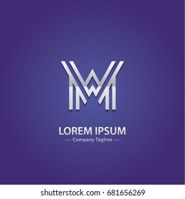 Abstract Logo Design Combinations Initial Letter of M and W