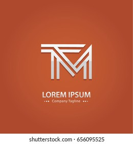 Abstract Logo Design Combinations Letter of  T and M