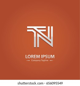 Abstract Logo Design Combinations Letter of  T and N