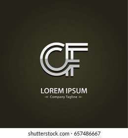Abstract Logo Design Combinations Letter of  C and F
