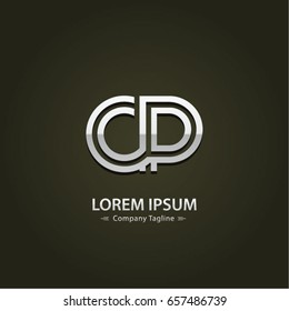 Abstract Logo Design Combinations Letter of  C and P