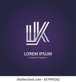 Abstract Logo Design Combinations Letter of  L and K