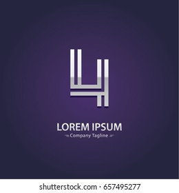 Abstract Logo Design Combinations Letter of  L and I