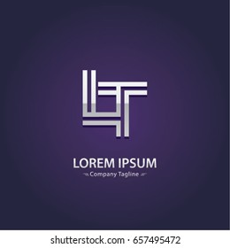 Abstract Logo Design Combinations Letter of  L and T