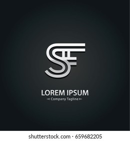 Abstract Logo Design Combinations Letter of  S and A